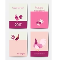 Set of new year postcards with roosters vector image