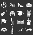 spain travel icons set grey vector image vector image