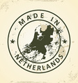 Stamp with map of Netherlands vector image