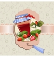 Strawberry jam jar vector image