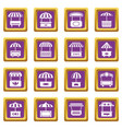 street food kiosk icons set purple square vector image vector image