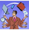 Time management businessman gadgets business vector image vector image