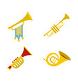 trumpet icon set flat style vector image vector image