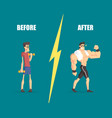 weak and muscular men man before and after vector image vector image