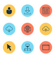 web icons set with application window network vector image vector image