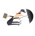 windy day and man with umbrella isolated vector image vector image
