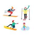 winter active people wintertime hobbies set vector image vector image