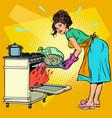 woman housewife bakes bird in oven vector image