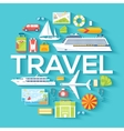 Travel circle infographics template concept Icons vector image