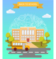 back to school concept poster school bus vector image