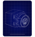 3d model of the safe on a blue vector image vector image