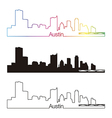 Austin skyline linear style with rainbow vector image vector image