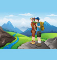 backpackers on top mountains vector image
