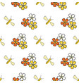 bees and flowers seamless pattern white vector image vector image