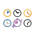 big set different color clock icons alarm vector image vector image