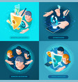 biometric authentication isometric icons square vector image vector image