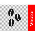 black coffee beans icon isolated on transparent vector image vector image