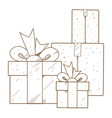 boxes with gifts outline drawing for coloring vector image vector image