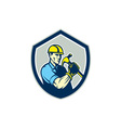Builder Carpenter Holding Hammer Shield Retro vector image vector image