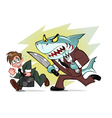 businessman and business shark vector image vector image