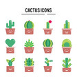 cactus icon in flat design for web design vector image vector image