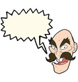 cartoon evil old man face with speech bubble vector image vector image