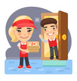 cartoon pizza delivery girl and customer vector image vector image
