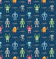Cartoon robots blue seamless pattern vector image vector image