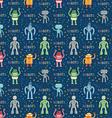 cartoon robots blue seamless pattern vector image vector image