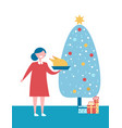 christmas tree with presents and woman with dish vector image vector image