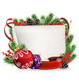 Christmas wreath with baubles and ribbons vector image vector image