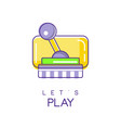 colorful joystick for computer video game icon in vector image
