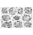 doodles cartoon set coronavirus objects vector image vector image