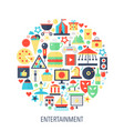 entertainment flat infographics icons in circle vector image