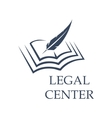 Feather writing on book as legal center sign vector image vector image