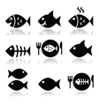 Fish fish on plate skeleton vecotor icons vector image vector image