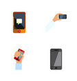 flat icon touchscreen set of chatting telephone vector image vector image
