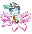 God Krishna in Lotus flower vector image vector image
