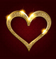 gold frame heart on a dark background vector image