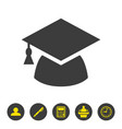 graduation cap icon on white background vector image vector image
