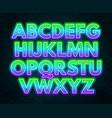 green purple gradient neon alphabet on a dark vector image vector image