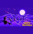halloween card with witch bats clouds and moon in vector image