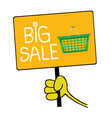 hand holding a sign with message for big sale vector image