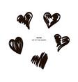 hearts temp black brush vector image