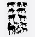 horse and bull silhouettes vector image