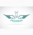 horse pegasus design on white background wild vector image vector image