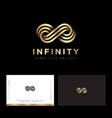infinity logo consist golden strip jewelry luxury vector image vector image