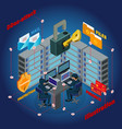 isometric server ddos attack template vector image vector image