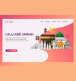 landing page hajj and umrah design concept vector image vector image