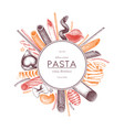 Menu template with italian pasta vector image